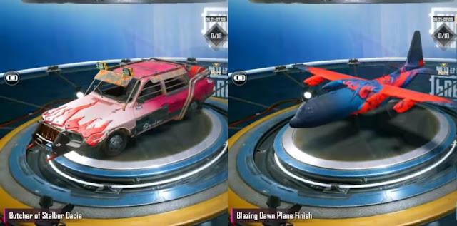 Skin Dacia dan Pesawat Season 14 PUBG Mobile