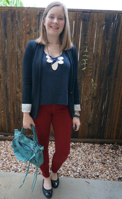 black blazer and shoes with burgundy jeans and navy tee outfit teal balenciaga first bag | away from blue