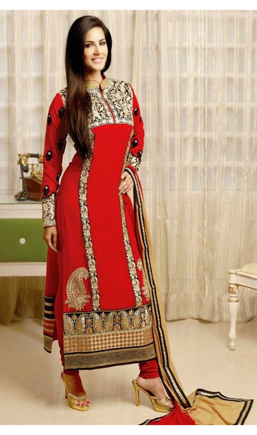 Sunny Leone Splendorous Red Salwar Kameez