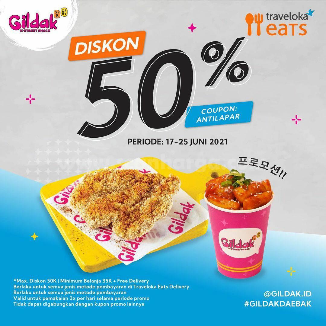 Promo GILDAK Diskon hingga 50 khusus pemesanan via Traveloka Eats