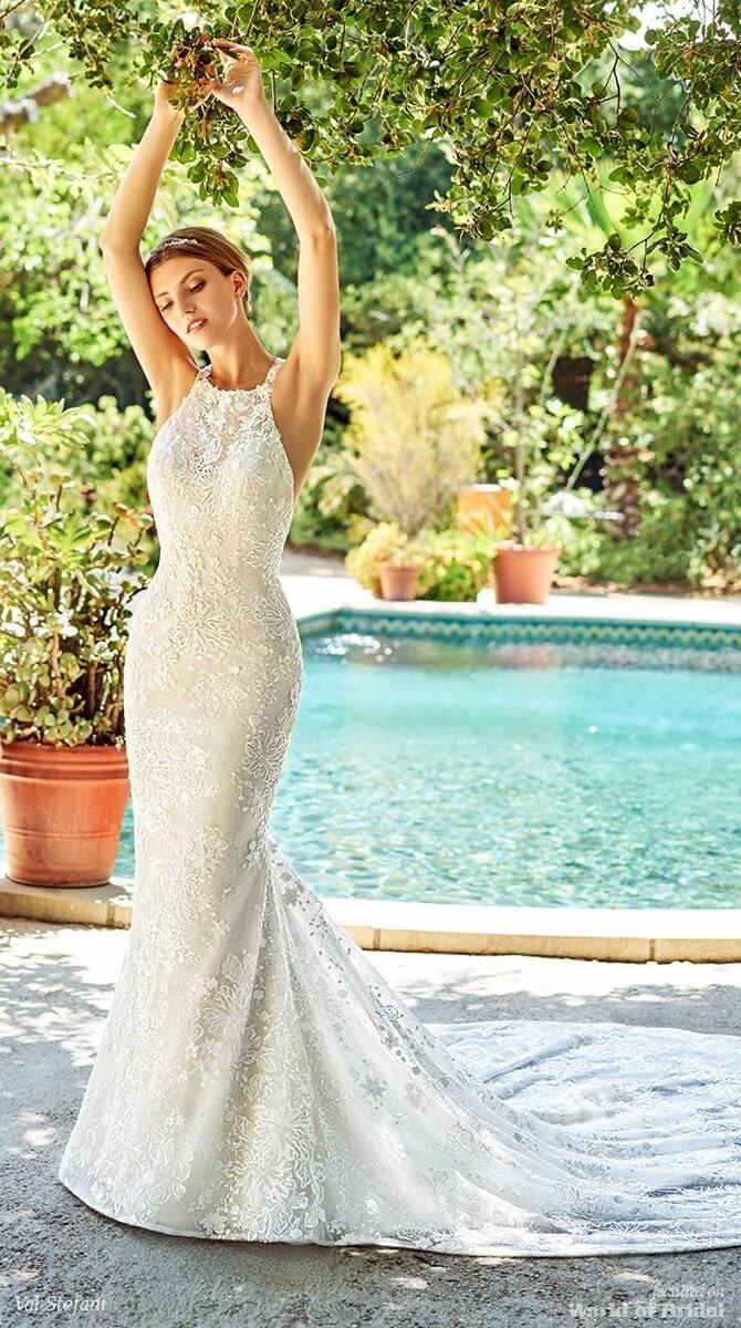 Val Stefani Spring 2018 Sparkly and Lace Sheath Wedding Dress With High Neck