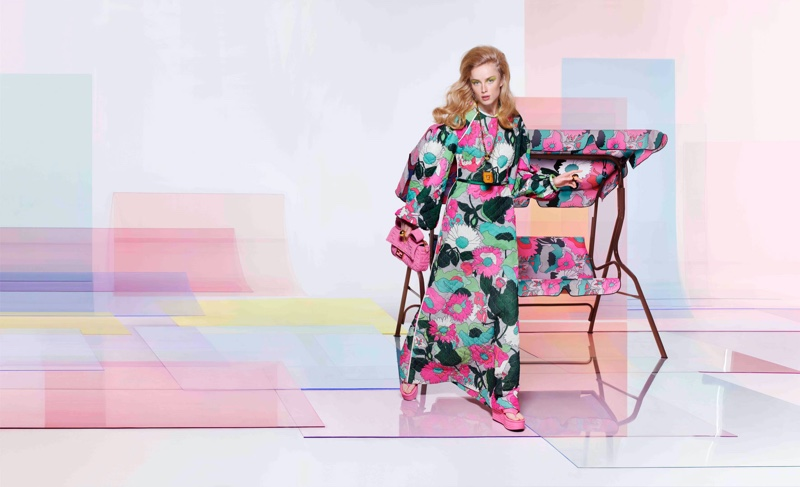 Model Rianne van Rompaey appears in Fendi spring-summer 2020 campaign