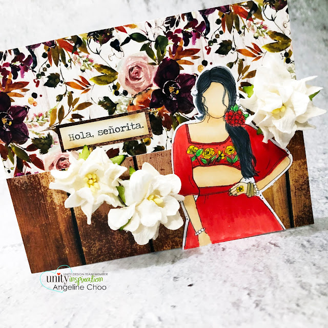 ScrappyScrappy: New Releases with Unity Stamp - Rosa Girl #scrappyscrappy #unitystampco #quicktipvideo #youtube #card #cardmaking #stamping #papercrafting #handmadecard #rosagirl #angiegirl #paperflowers #autumndream #unitystamppaper #holasenorita #senorita #copicmarkers