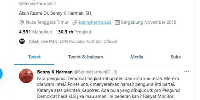 Benny K. Harman: Kader Demokrat Daerah Diancam Intel Polres Untuk Serahkan Nama Pengurus