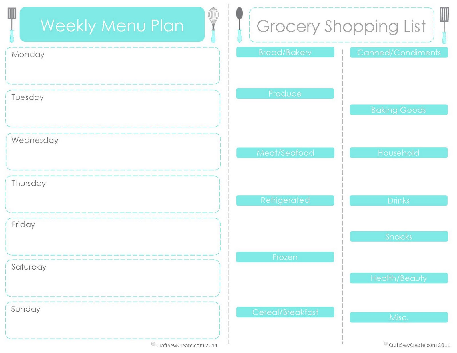 It Prints On One Page, So You Can Fold It In Half And Take It To The Store.  That Way You Can Cross Check And Remember What Your Meal Plan Was (Why