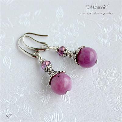 proste kolczyki z jadeitami, jadeite earrings