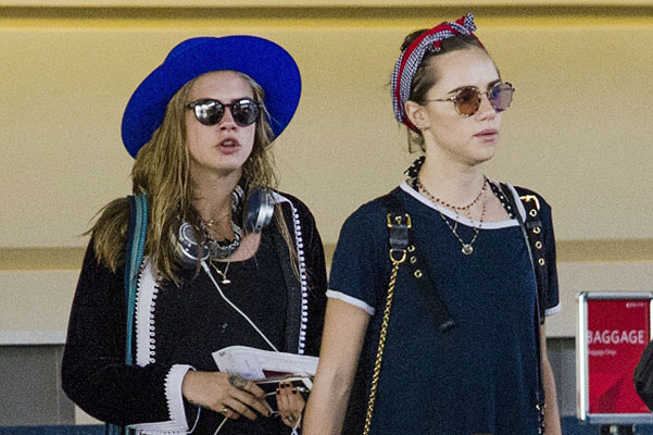Hot vacation: Sookie Waterhouse and Cara Delevingne with a sweetheart left Barbados