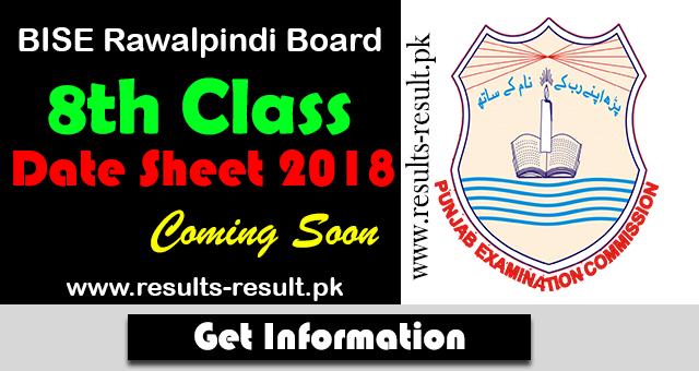 8th Class Date Sheet: BISE Rawalpindi Board 8th Class Date Sheet