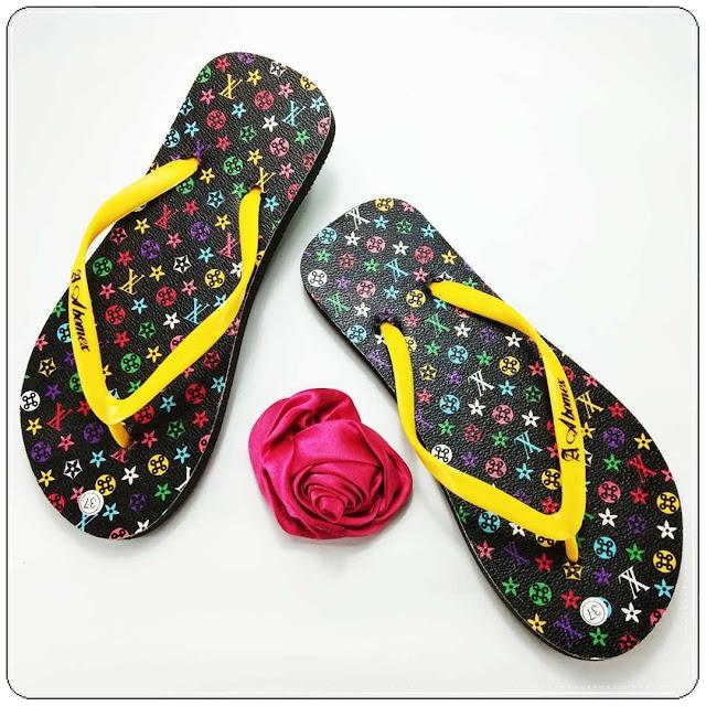Sandal Spon Termurah- Sandal AMX Spon Motif Bunga Wanita- Grosir Sandal Jepit