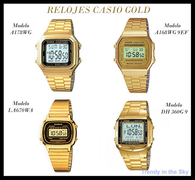 6592b12da2ce Distintos relojes dorados de la marca Casio