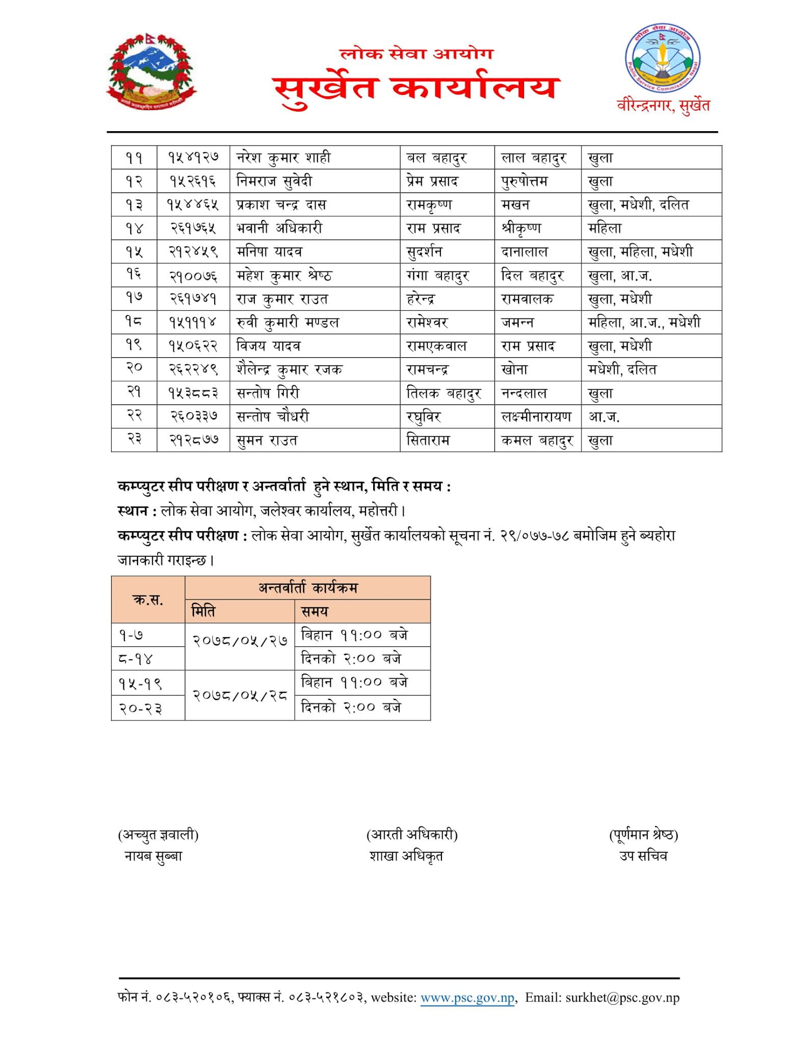 NASU Account - Jaleshwor Lok Sewa Aayog Written Exam Result & Exam Schedule