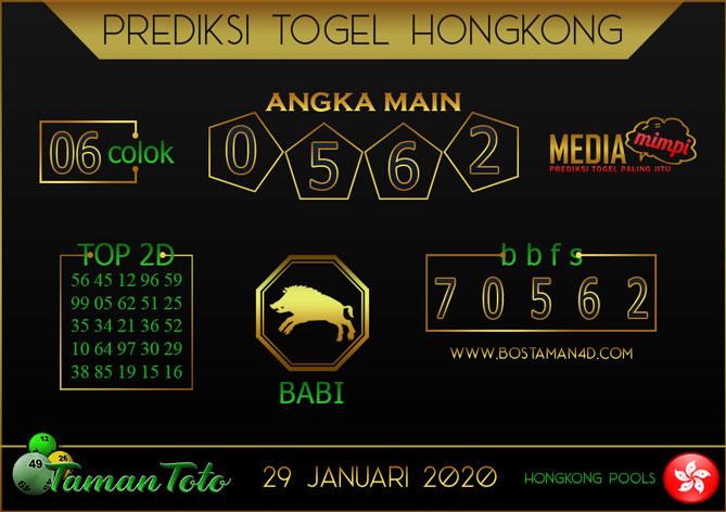 Prediksi Togel HONGKONG TAMAN TOTO 29 JANUARI 2020