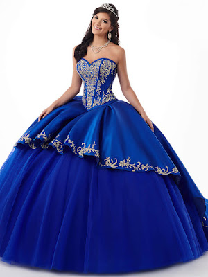 Sweetheart Mary's Quinceanera Royal/Gold Color Ball Gown Dress