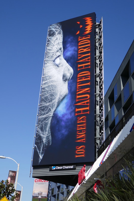 Los Angeles Haunted Hayride cobweb billboard
