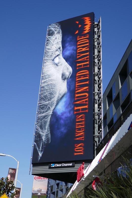 Los Angeles Haunted Hayride cobweb billboard