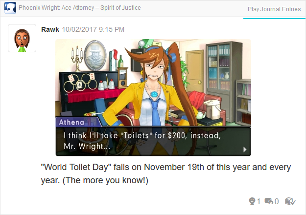 Phoenix Wright Ace Attorney Spirit of Justice World Toilet Day