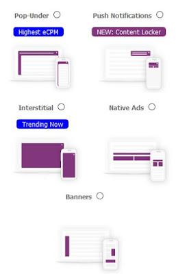 Formatos publicitarios Adcash