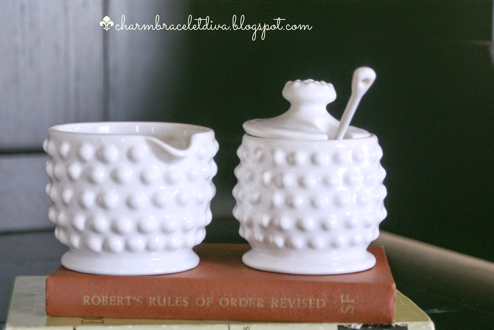 white hobnail sugar bowl, spoon and creamer charm bracelet diva at home