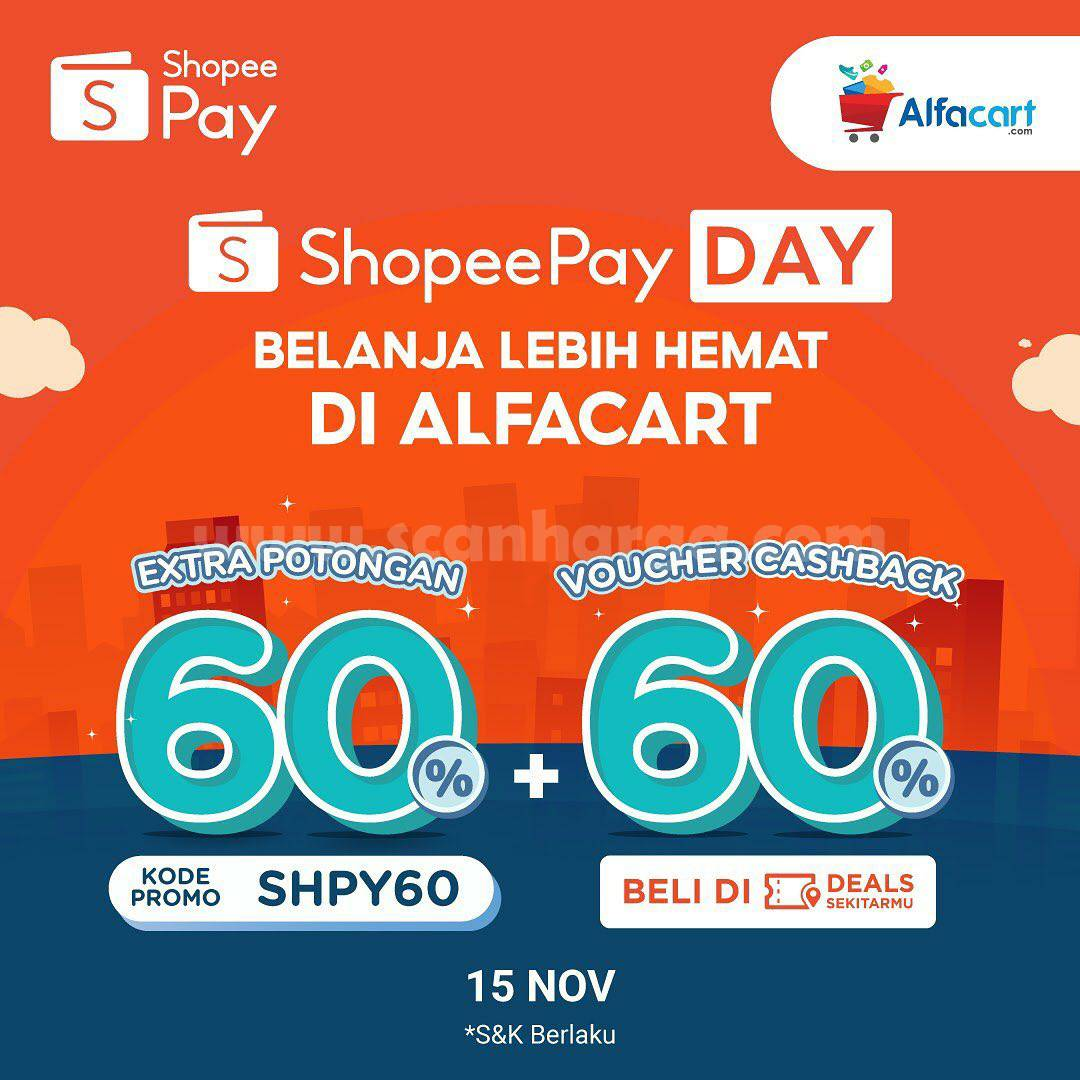 Alfacart Promo Extra Diskon 60% + voucher Cashback 60% dengan ShopeePay