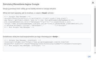 Instalacja kodu GTM