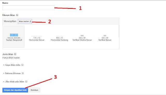 cara membuat iklan link adsense yang berderet ke bawah banyak