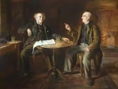 The Boss shows his friend Woodifield the furnitures and the carpet points happily towards the five sausages growing softly in the copper pen.