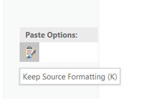 Keep Source Formatting (K) word 2019