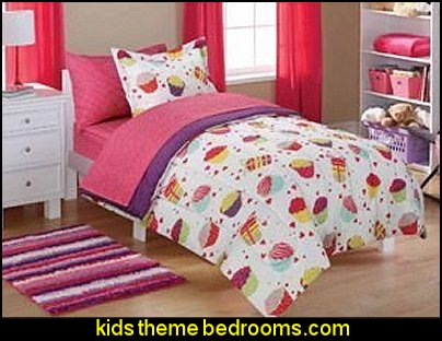 7pc Girl Pink Blue White Green Cupcake Floral Full Comforter Set (7pc Bed in a Bag)