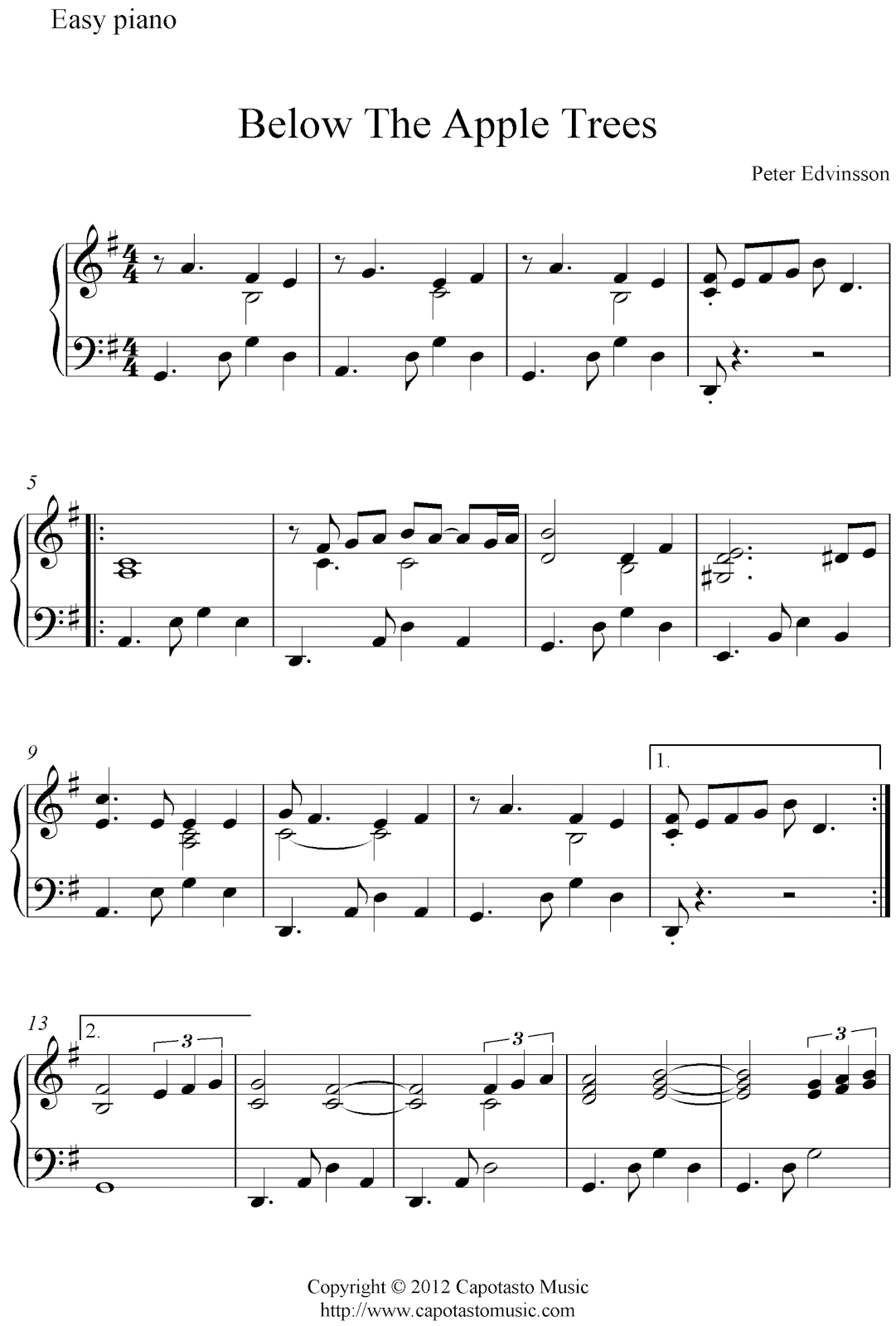 free piano sheet music pdf for beginners