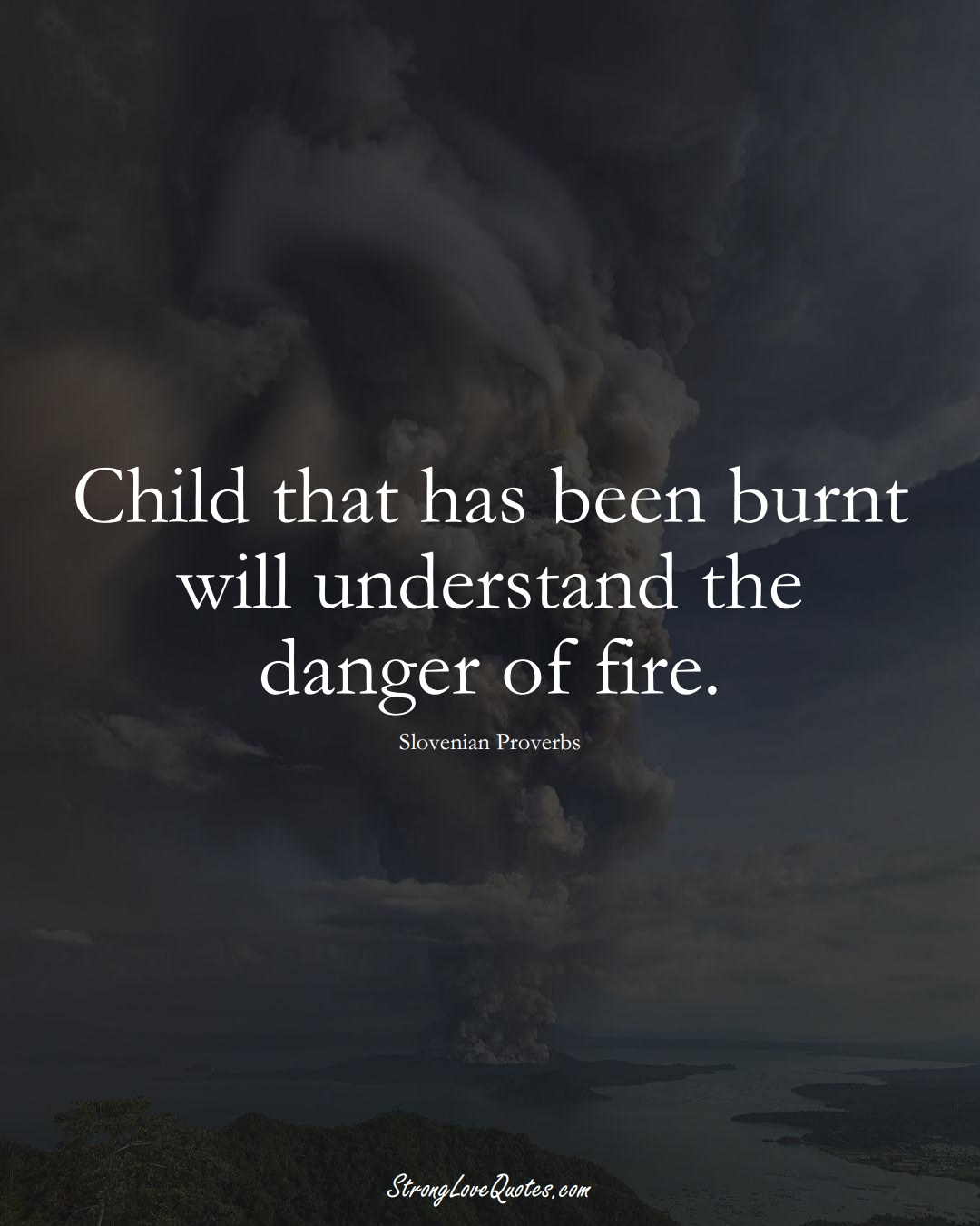 Child that has been burnt will understand the danger of fire. (Slovenian Sayings);  #EuropeanSayings