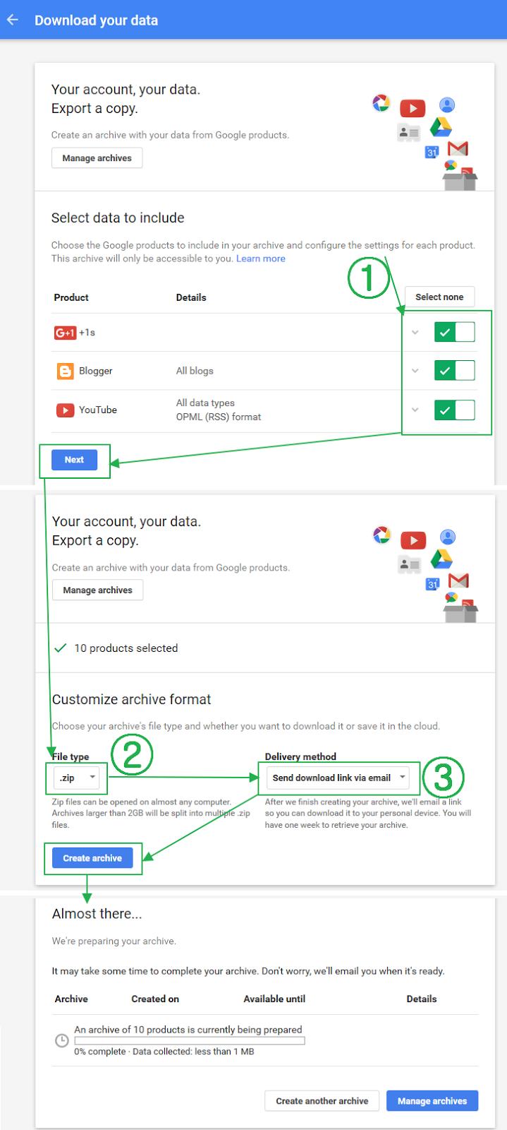 구글 계정 콘텐츠 백업 다운로드 하는 방법 - 구글 계정의 모든 제품을 한 번에 백업하기