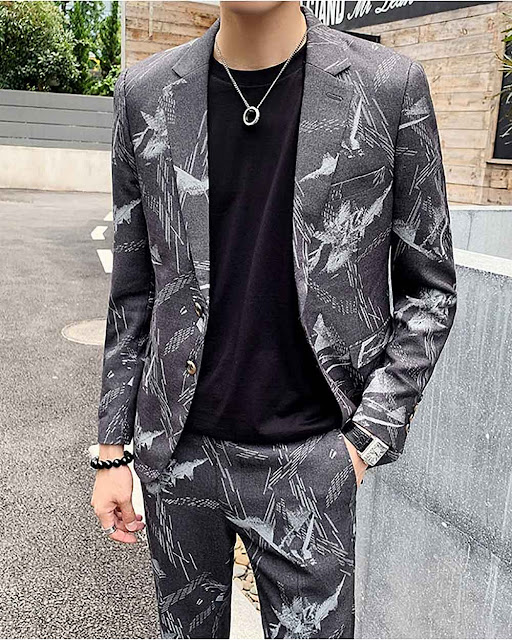 Autumn Printed Wedding Suits for Men