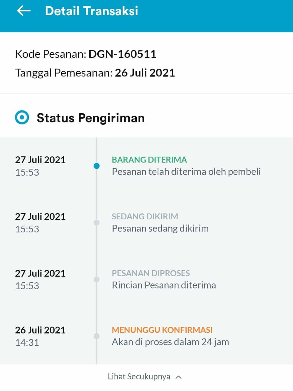 status pengiriman aplikasi dagangan