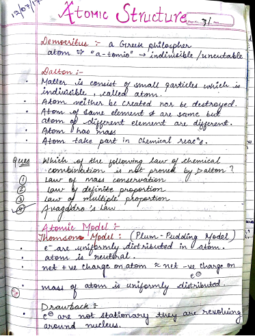 रसायन विज्ञान चैप्टरवाइज नोट्स (Atomic Structure) : JEE and NEET परीक्षा हेतु पीडीएफ पुस्तक | Chemistry Chapterwise Notes (Atomic Structure) : For JEE and NEET Exam PDF Book