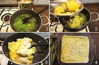 foto preparazione Ricetta polpettone di patate e piselli al profumo di rosmarino per bambini