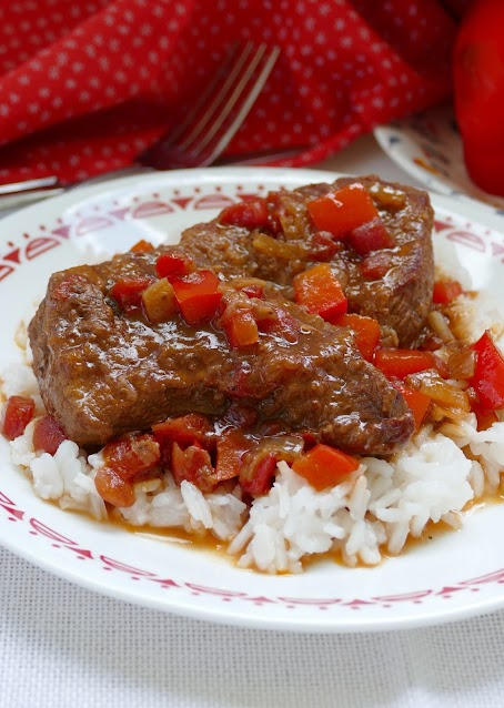 This old school comfort food is a great dinner idea! The sauce is packed full of flavor from the onion, bell pepper and tomatoes, but also a secret ingredient! Sure to be a family favorite!