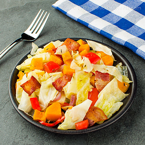 Smothered Cabbage with Bacon and Sweet Potatoes