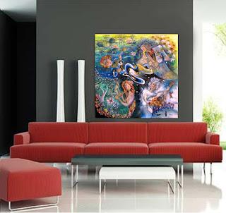 design di interni interior design quadro acrilico su tela, onirico poetico surrealista