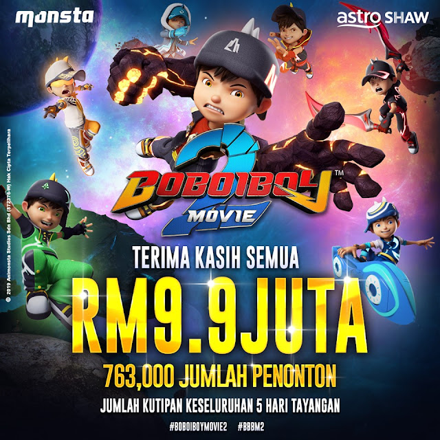 BoboiBoy The Movie 2 | Done Tonton 9.8.2019 & Menyumbang Kepada Kutipan RM9.9 Juta