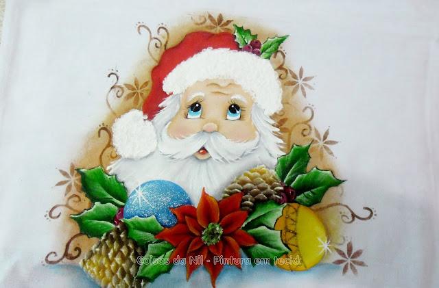 pintura em tecido papai noel com pinhas e bolas de natal