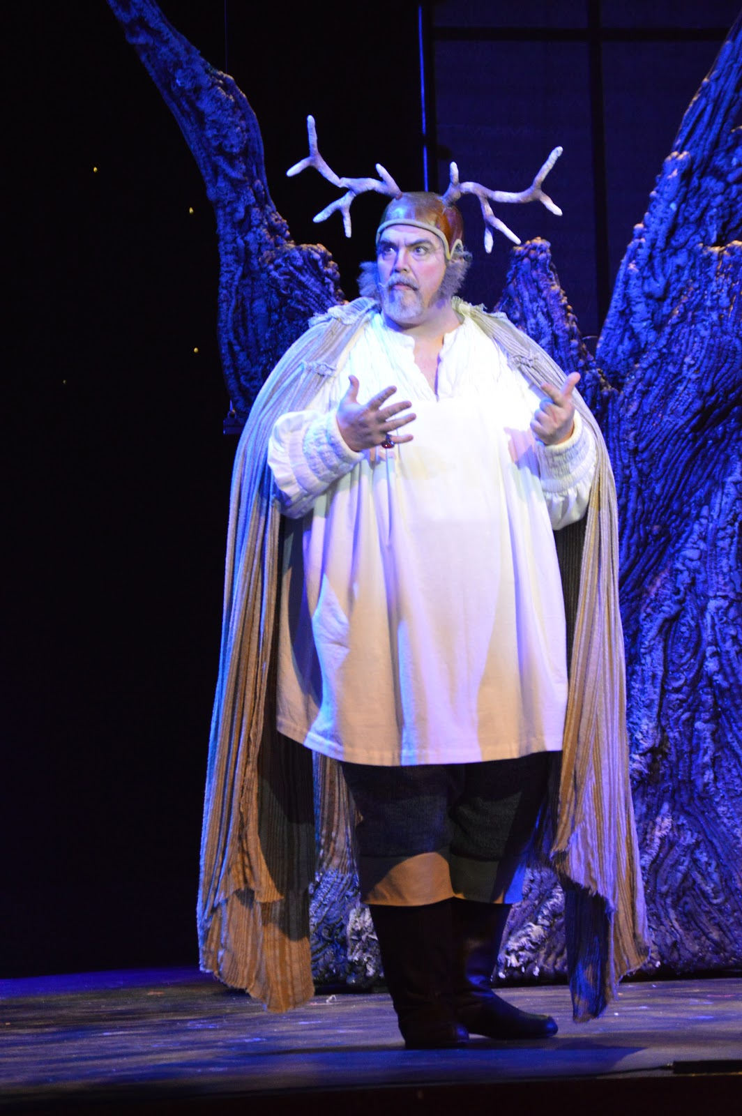 IN REVIEW: baritone RICHARD ZELLER in the title rôle in UNCG Opera Theatre's April 2019 production of Giuseppe Verdi's FALSTAFF [Photograph by Tamara Beliy and Amber Rose Romero, © by UNCG Opera Theatre]