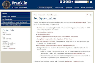 Job Opportunities for the Town of Franklin