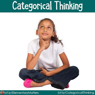 Categorical Thinking: The brain automatically wants to sort ideas into patterns and categories. We can help children strengthen these skills.