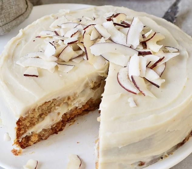 VEGAN COCONUT CAKE   WITH OIL-FREE CREAM FROSTING (GF) #desserts #glutenfree