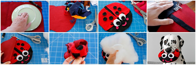 DIY ladybug stuffed dog toy, step-by-step how to make