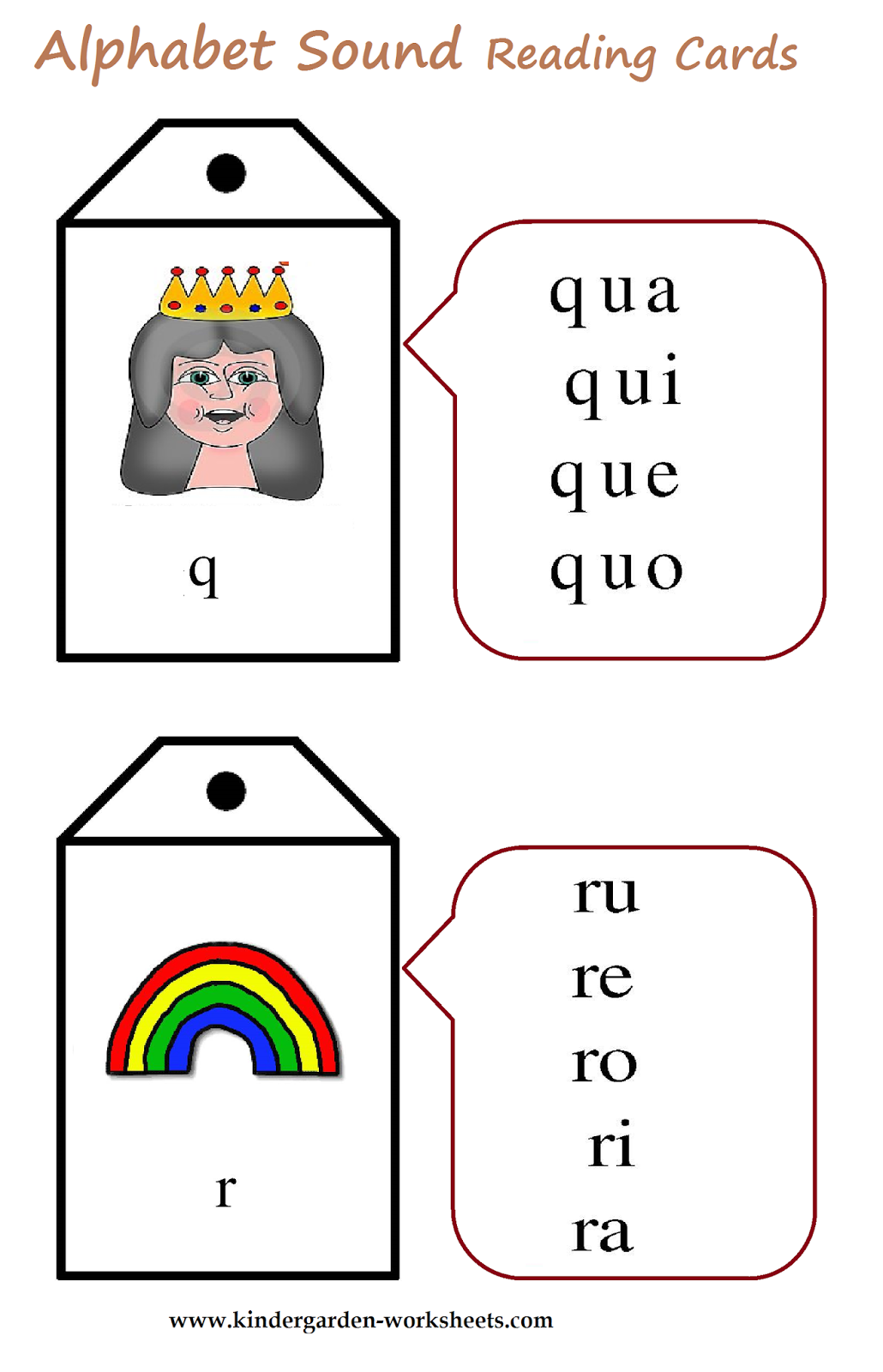 kindergarten worksheets alphabet sound read cards. Black Bedroom Furniture Sets. Home Design Ideas