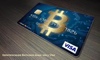 Капитализация Биткоина выше чем у Visa