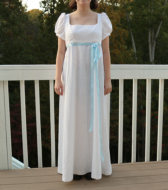 Front Full Length View of M7493 Inspired by Eliza Hamilton's Burn Dress