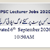 PPSC Lecturers Total Applications Submitted Status September 06, 2020 10:50AM