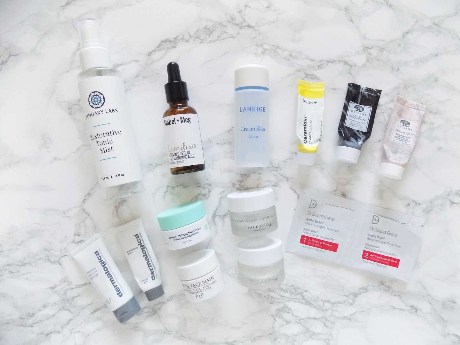 skincare empties January labs Dermalogica origins dr jart